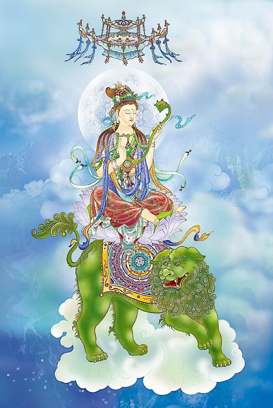 Buddha Weekly Wenshu 6 bmp with rhyu septre on snow lion Buddhism