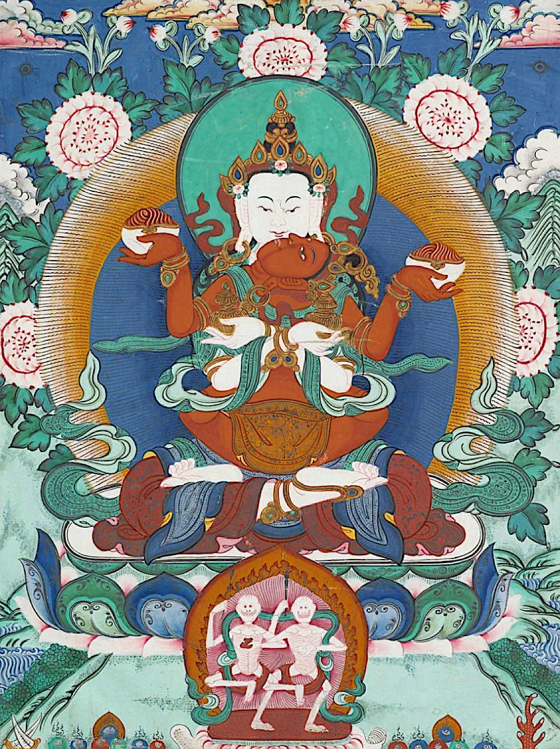 Buddha Weekly White Heruka Gelugpa Tradition Long Life Practice with Red Vajrayogini thangka Royal Ontario Museum Buddhism