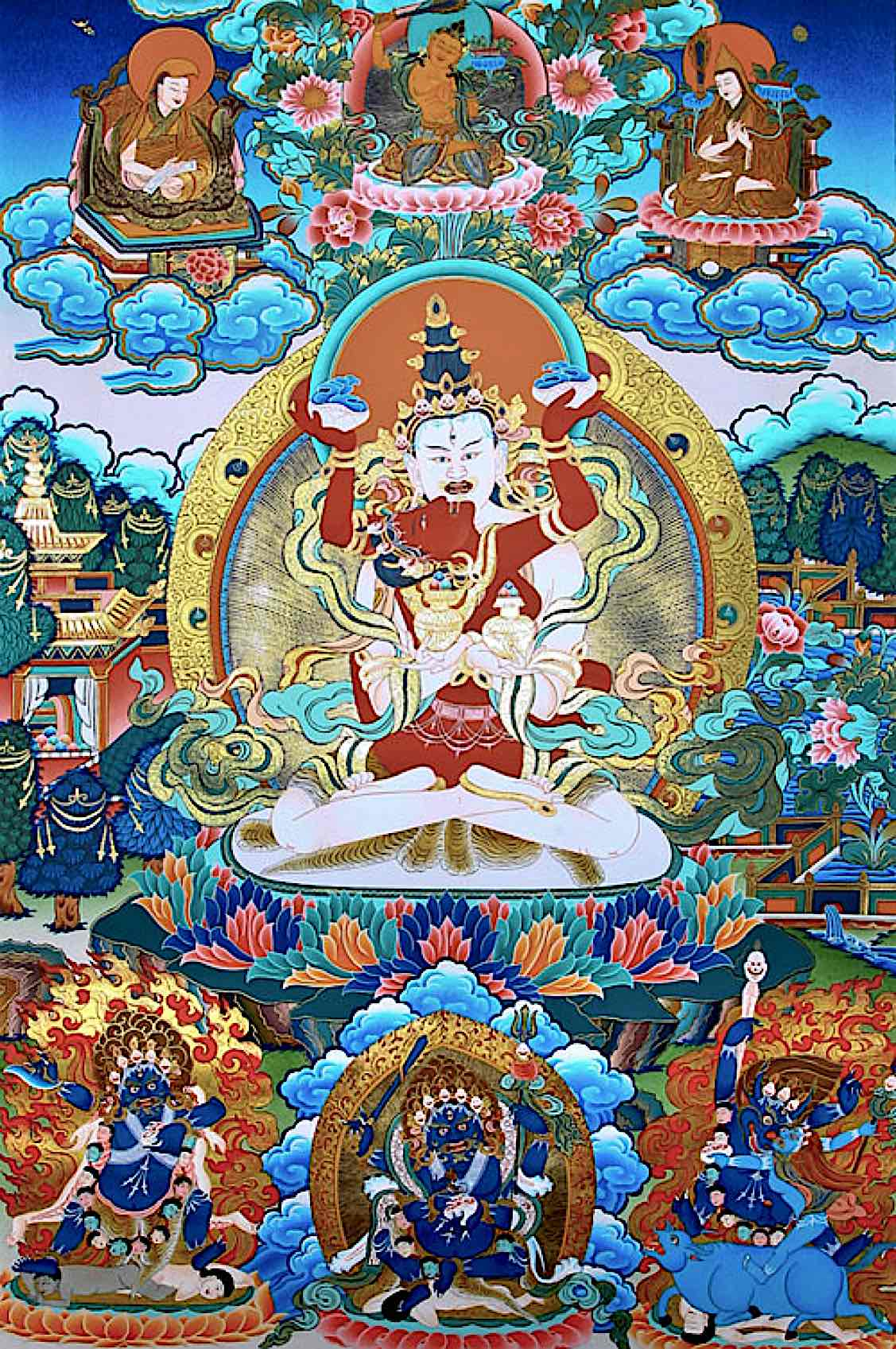 Buddha Weekly White Heruka Vajrayogini Blessful Feast of Immortality Chakrasamvara beautiful with gilt Buddhism