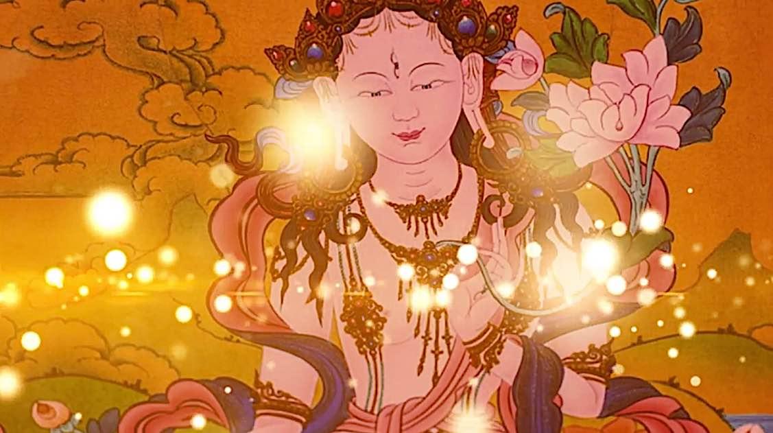 Buddha Weekly White Tara Video long life practice glowing lights Buddhism