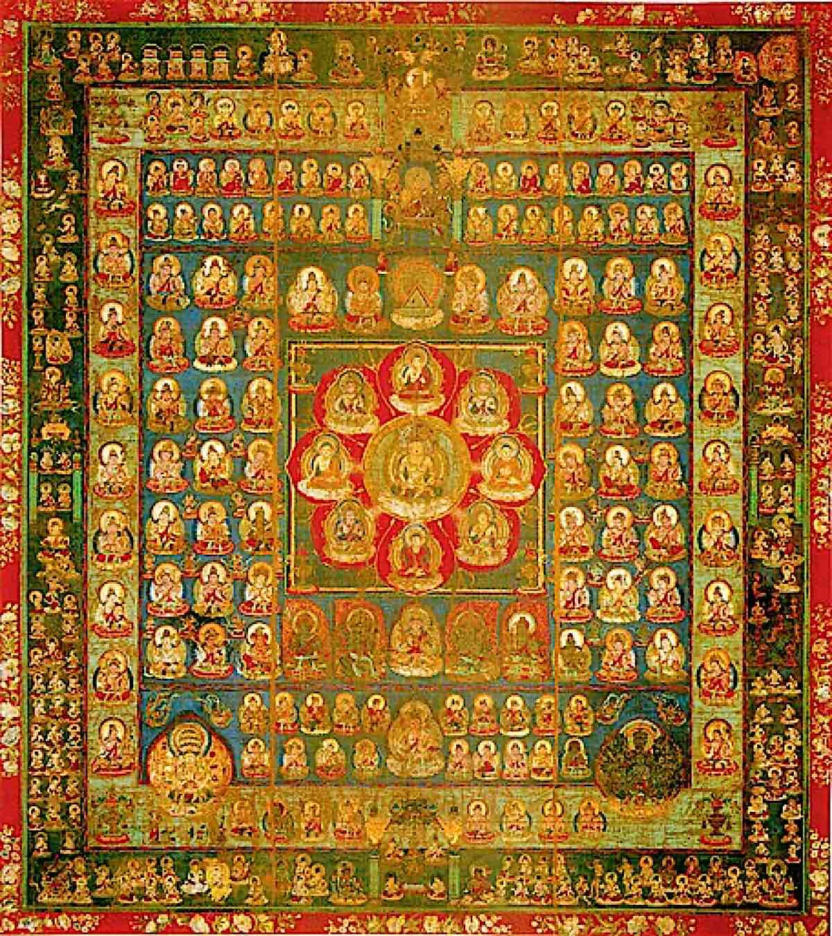 Buddha Weekly Womb Realm Mandala Vairocana surrounded by 8 Buddhas 456px Taizokai Buddhism
