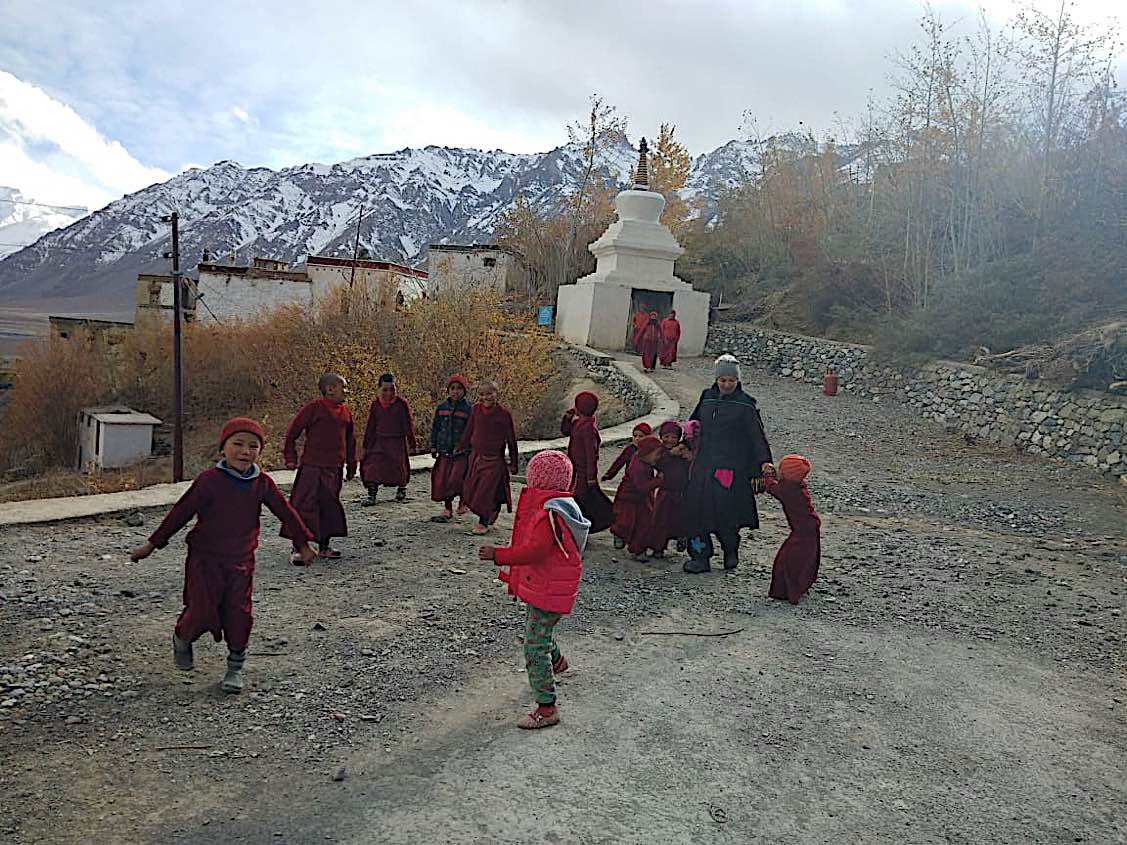 Buddha Weekly Young nuns at Zangla Byangchub Choling Nunnery in Zanskar Valley Ladakh India Buddhism