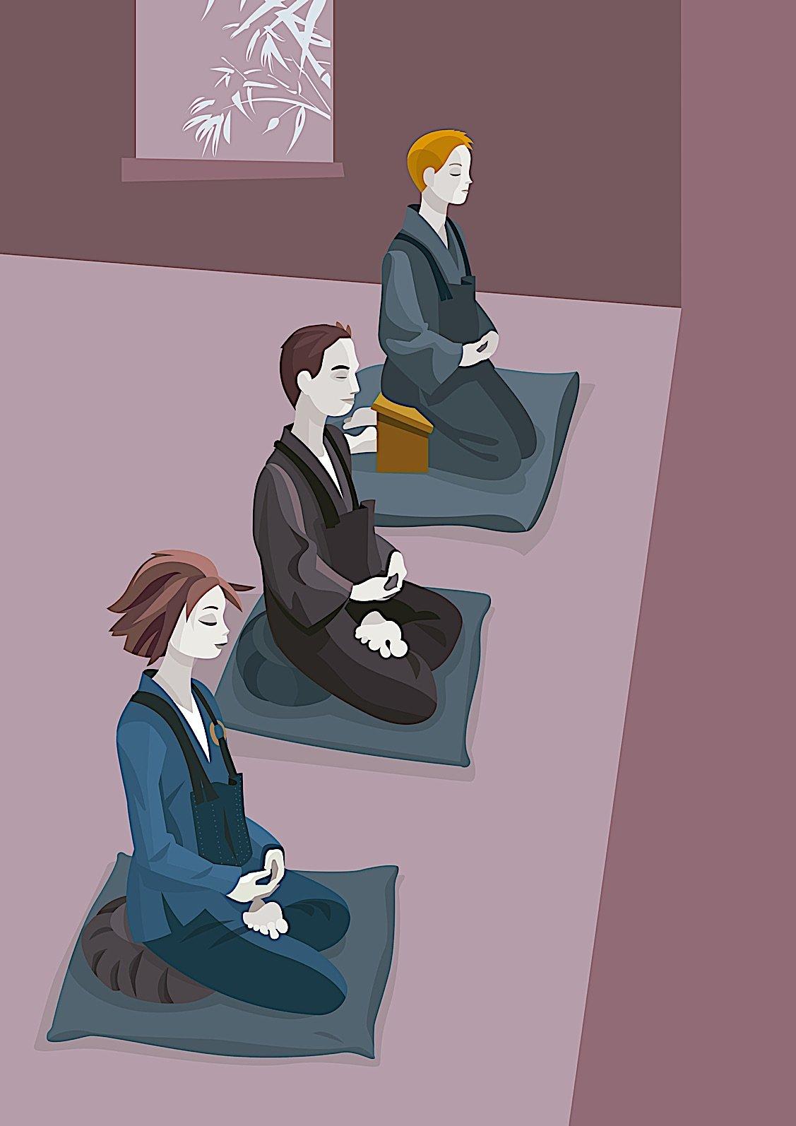 Buddha Weekly Zen meditation in silence facing a blank wall Buddhism