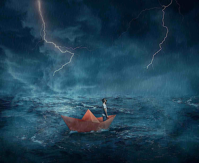 Buddha Weekly boat man in storm illustration ING 65341 00082 Buddhism