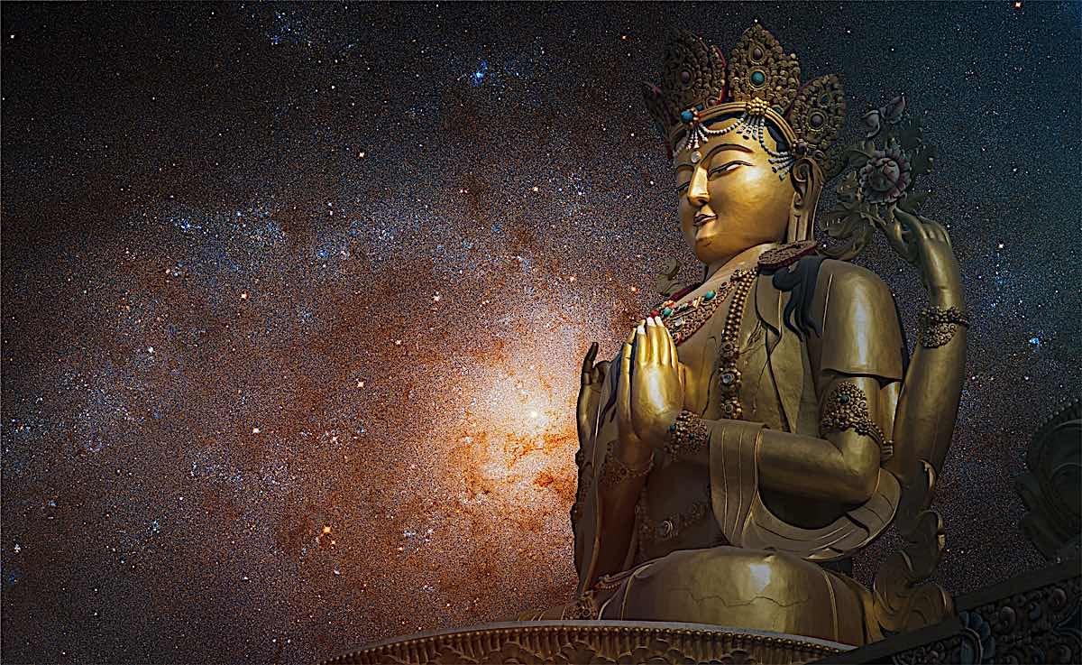 Buddha Weekly four armed Chenrezig statue with background starry sky dreamstime xxl 164705808 Buddhism