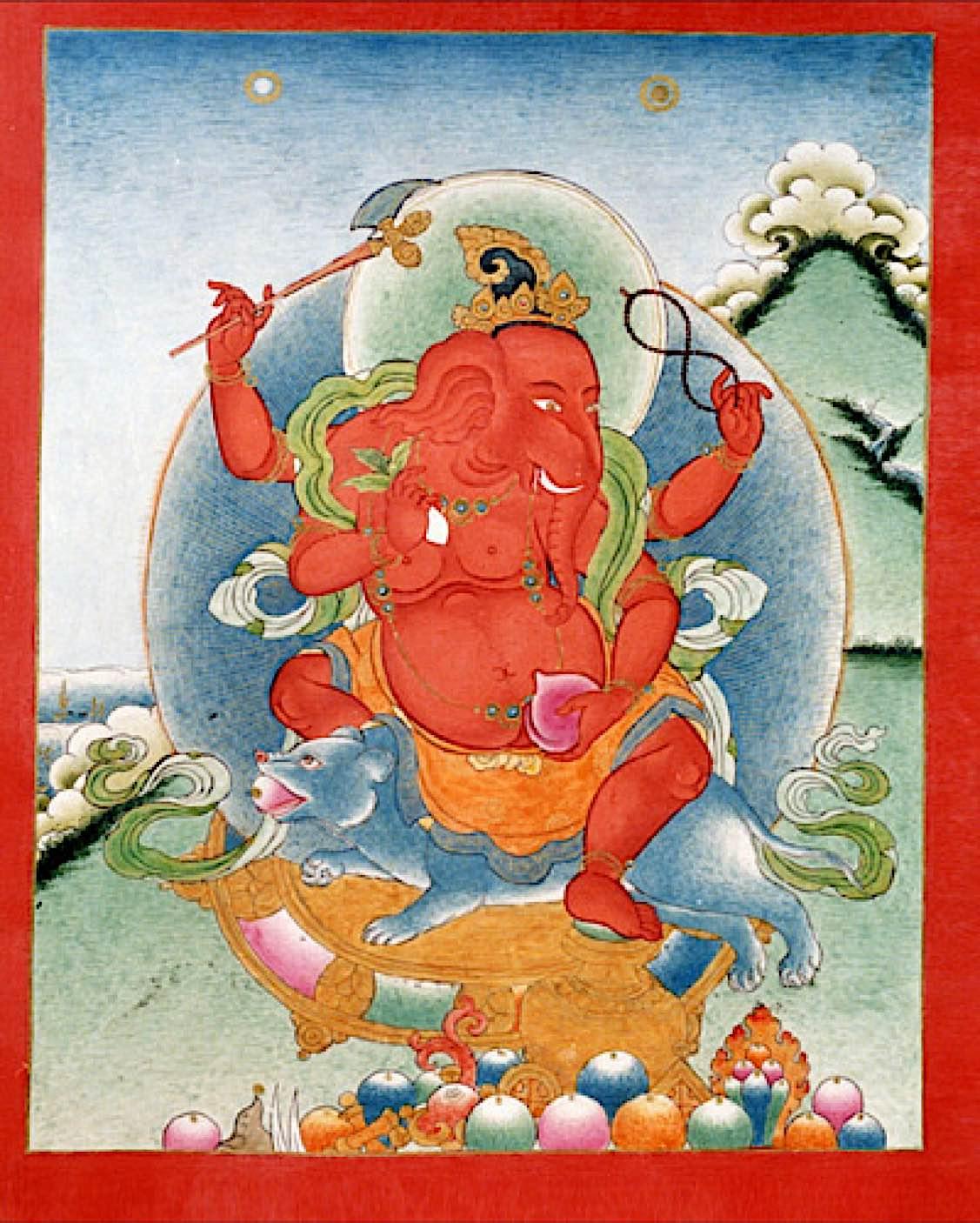 Buddha Weekly ganesha tibet 4arms red Buddhism