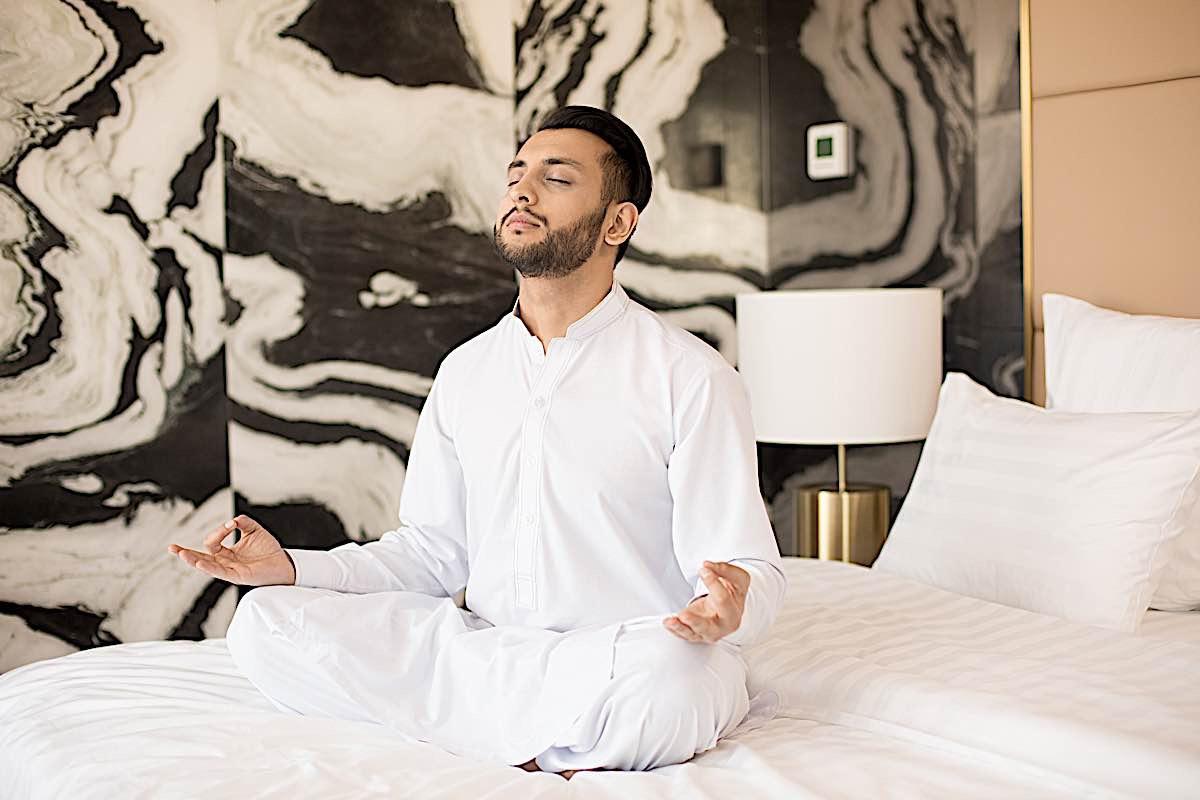 Buddha Weekly man meditation before bed Buddhism