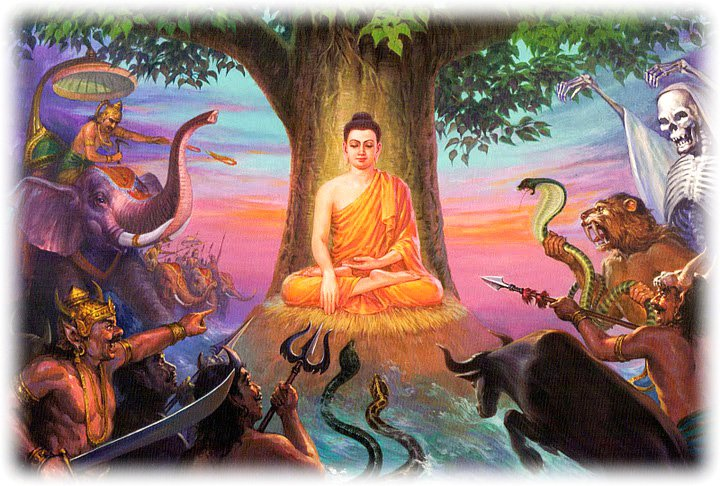 Bumisparsa Mudra Buddha assailed by demons Buddha Weekly