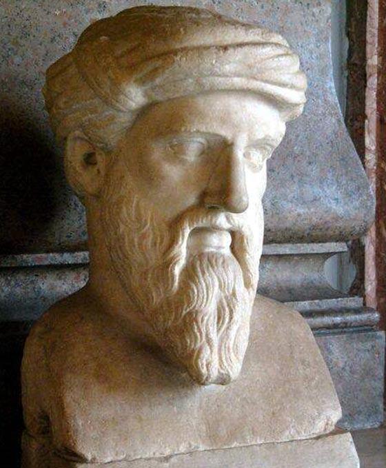 Bust of Pythagoras Roman copy of green original Musei Capitolini Rome