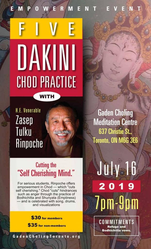 Five Dakini Chod Event Gaden Choling July 16 2019 Toronto Zasep Rinpoche