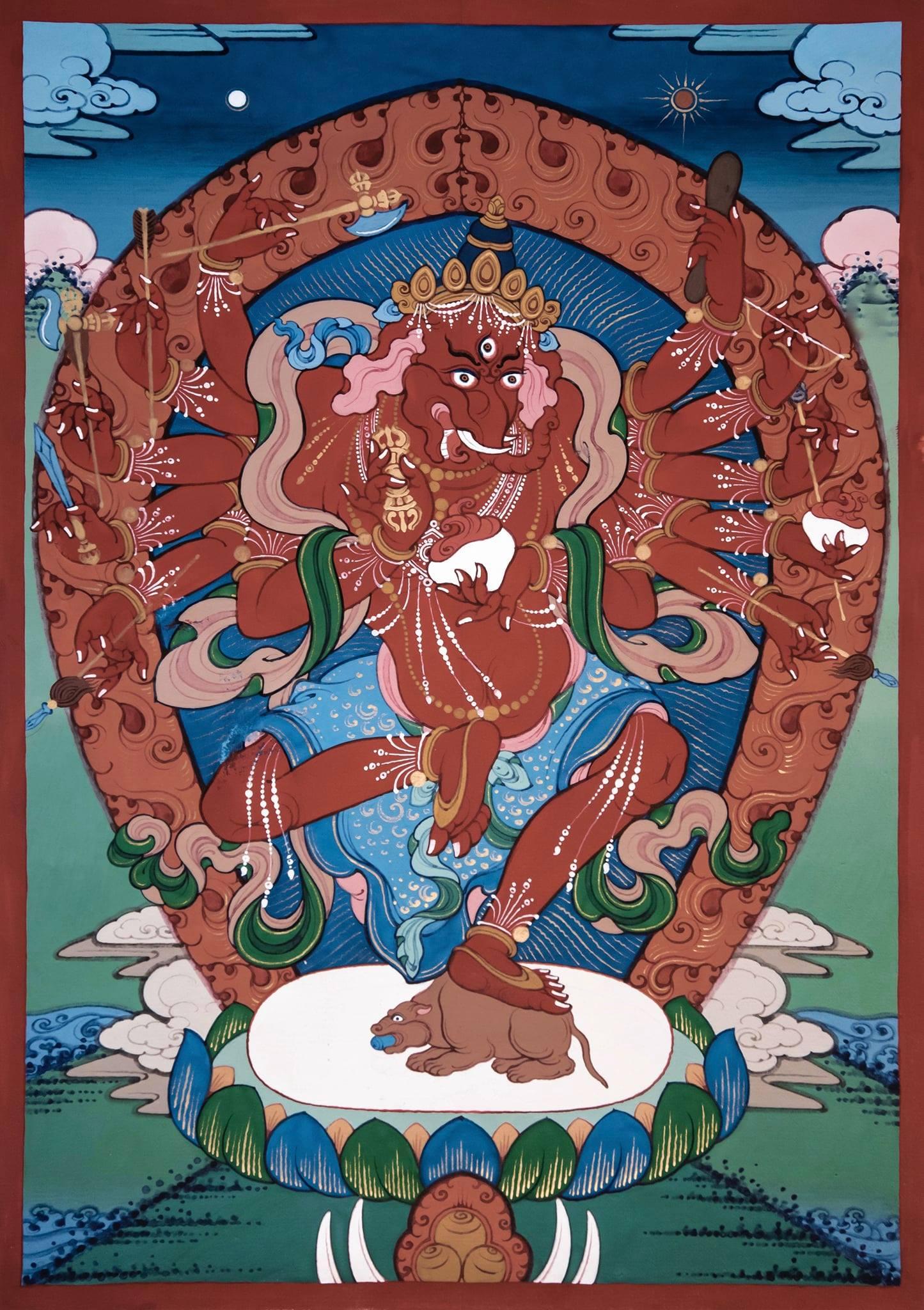 Ganapati 12 armed Red Maharakta
