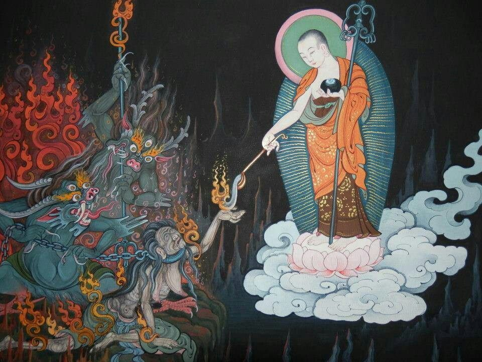 Gizo decends to hell on a lotus throne to help those suffering in hell Buddha Weekly