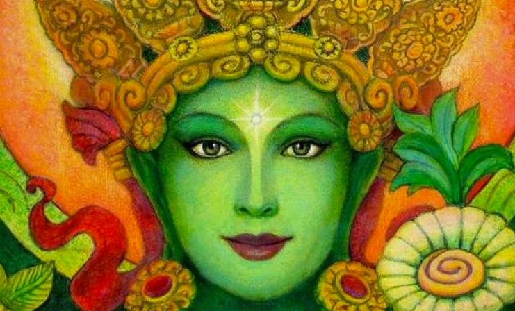 Green Tara beautiful face