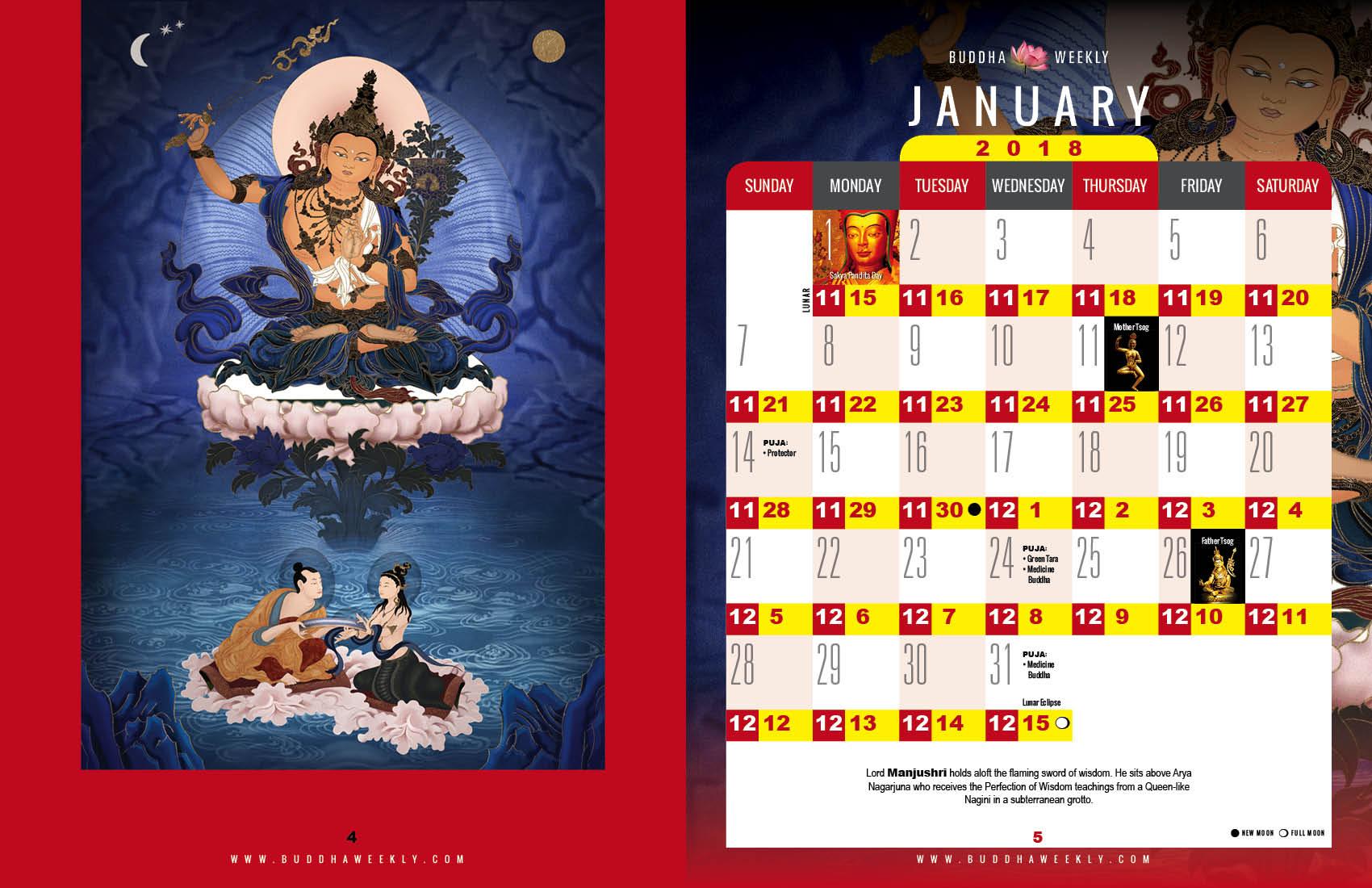 Lunar Calendar 2018 12 Buddha Weekly 1 January low