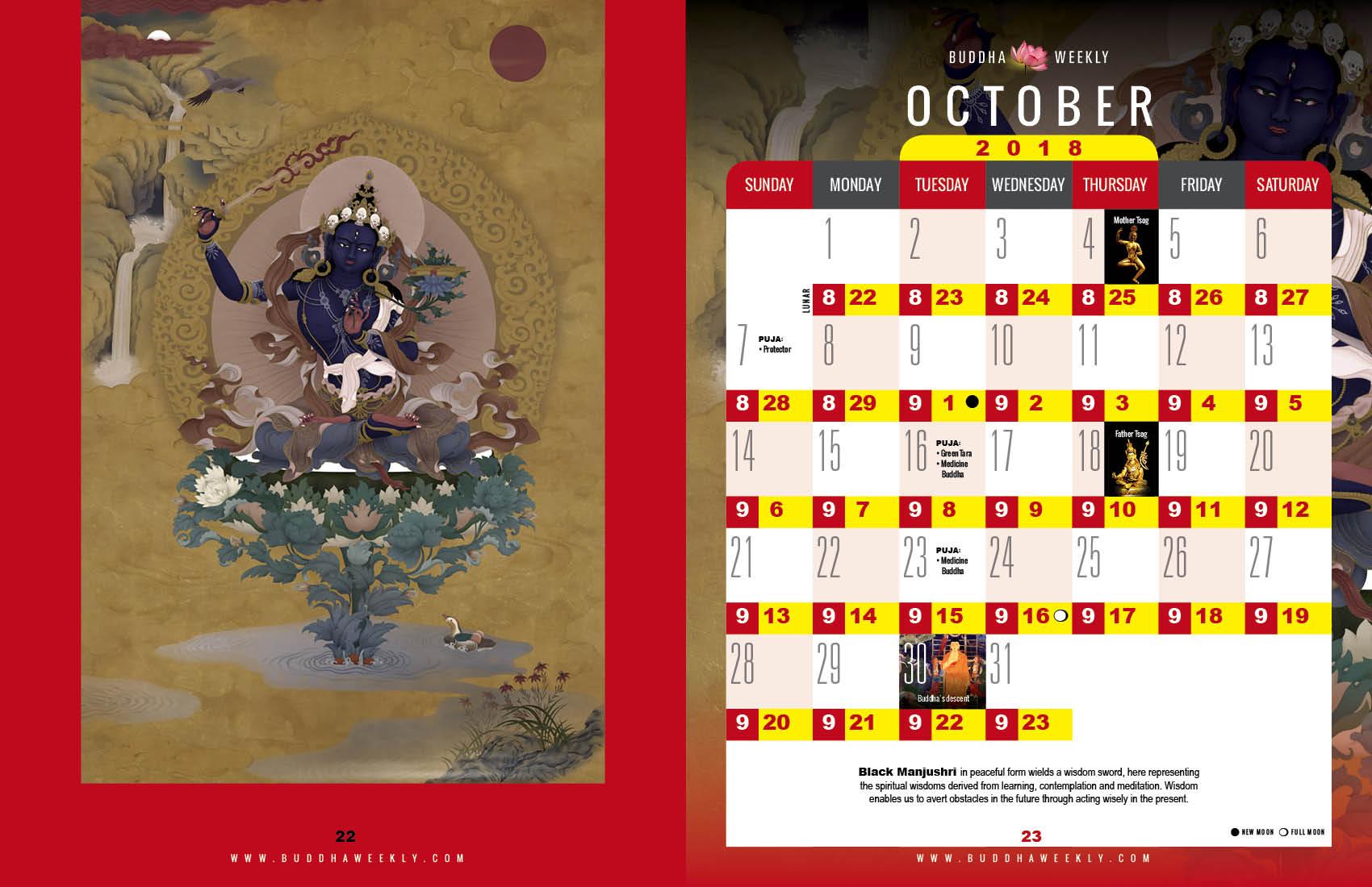 Lunar Calendar 2018 12 Buddha Weekly 10 October low 10