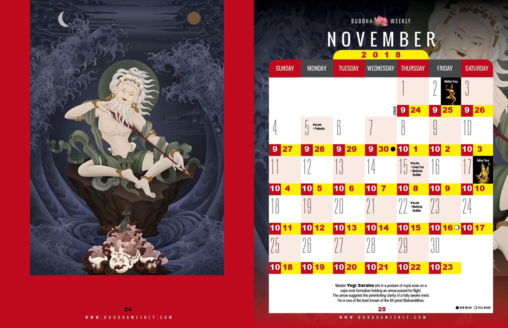 Lunar Calendar 2018 12 Buddha Weekly 11 November 11