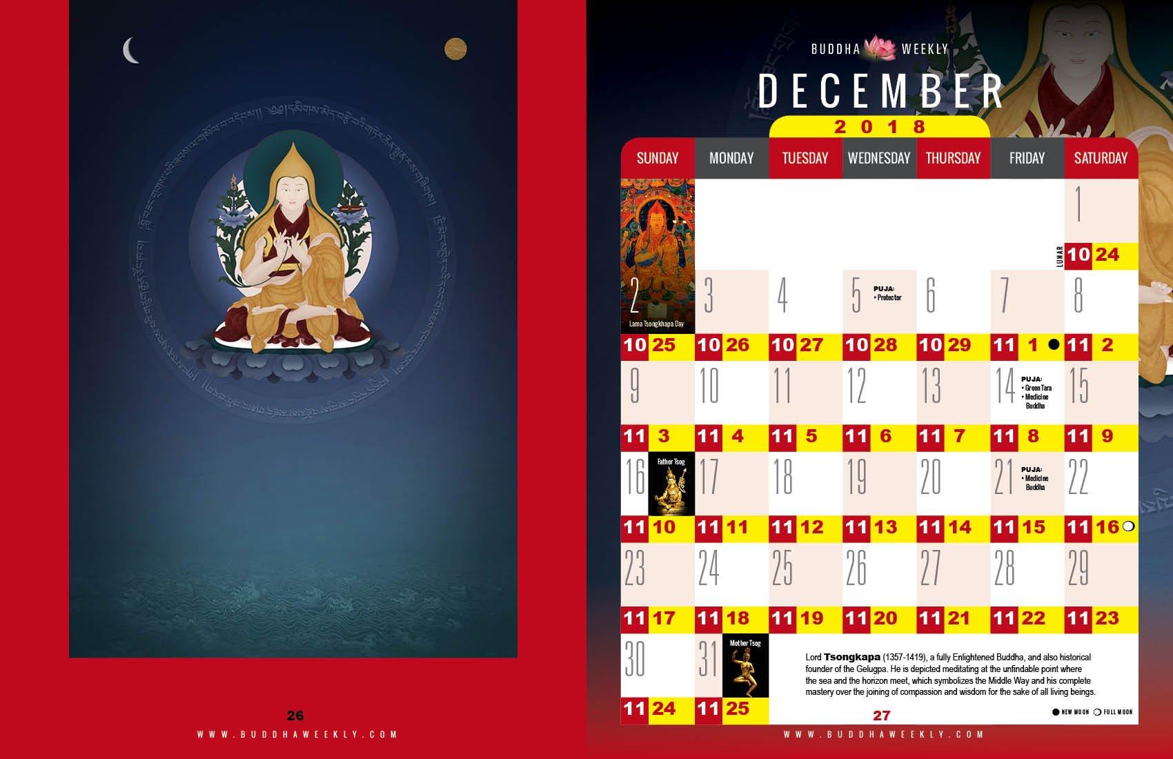 Lunar Calendar 2018 12 Buddha Weekly 12 December low 12
