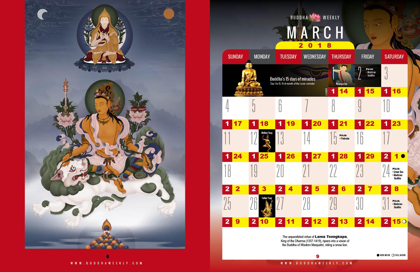 Lunar Calendar 2018 12 Buddha Weekly 3 March low 3