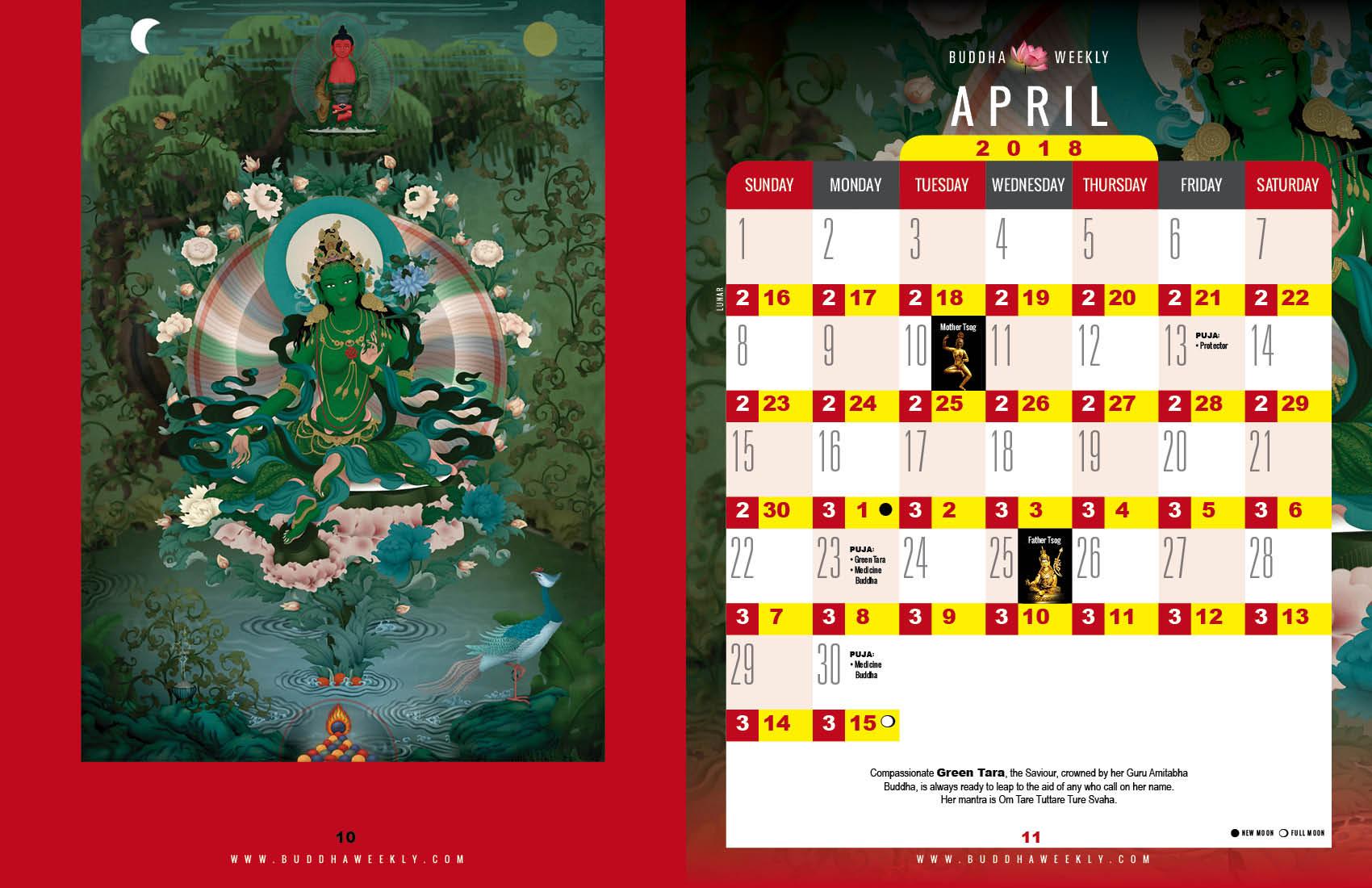 Lunar Calendar 2018 12 Buddha Weekly 4 April low 4