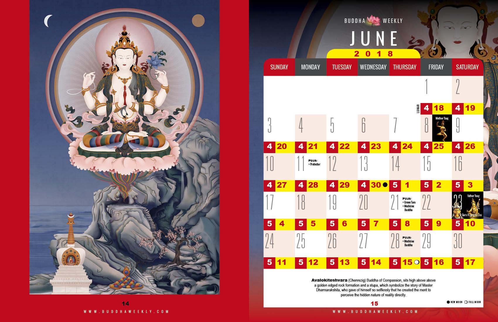 Lunar Calendar 2018 12 Buddha Weekly 6 June low 6