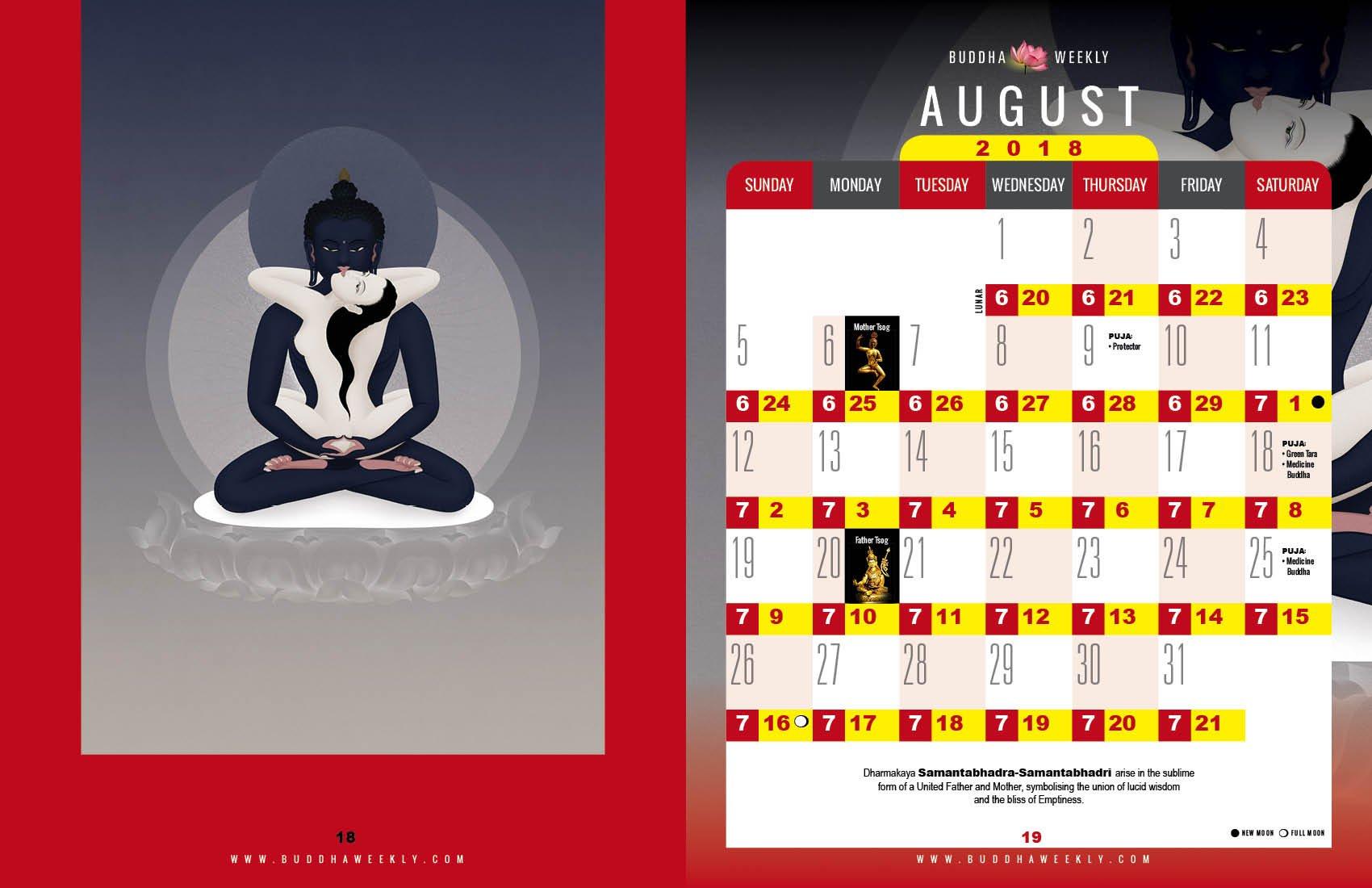 Lunar Calendar 2018 12 Buddha Weekly 8 August low 8