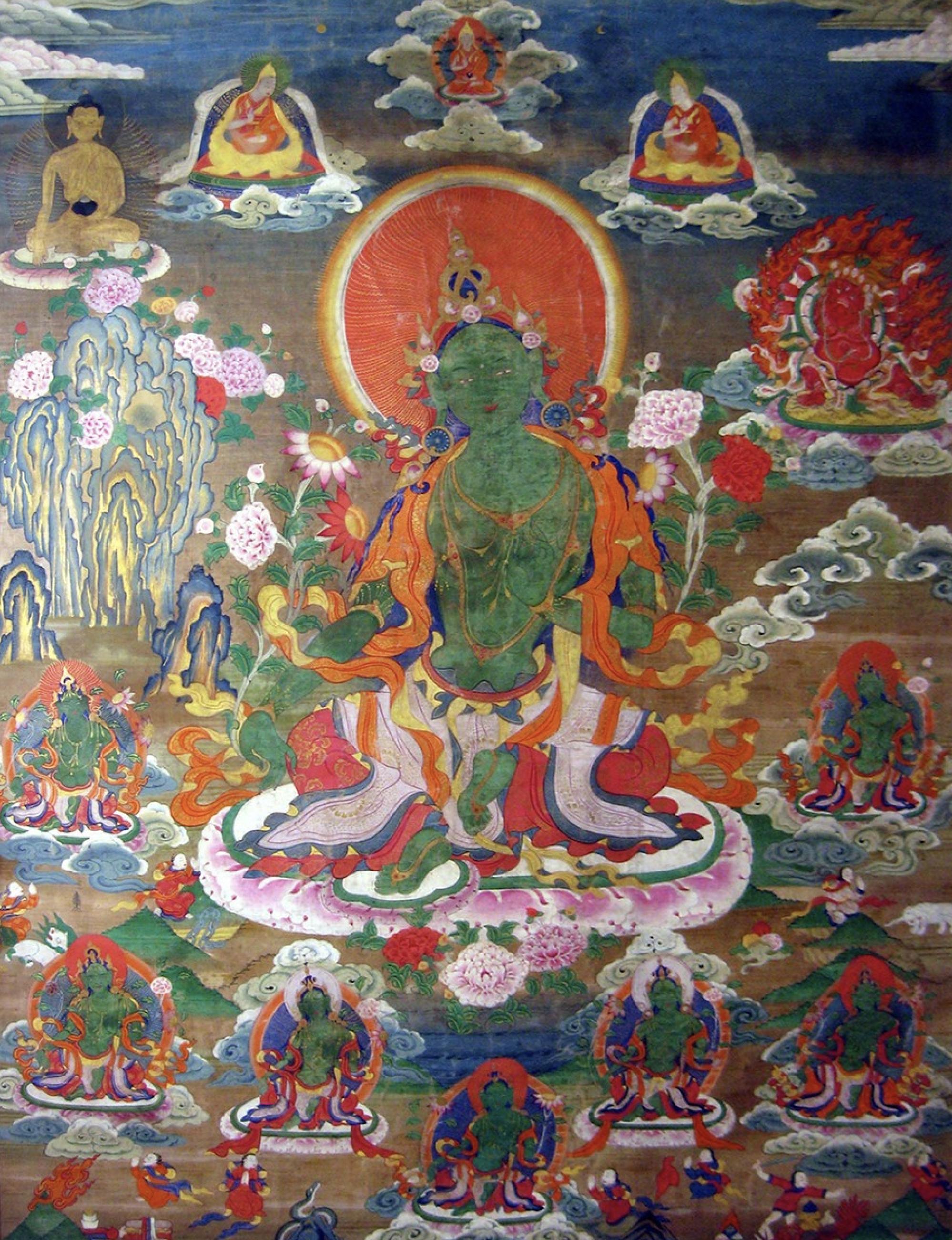 Old Tangkha of Green Tara with Hayagriva lineage gurus Shakyamuni Buddha