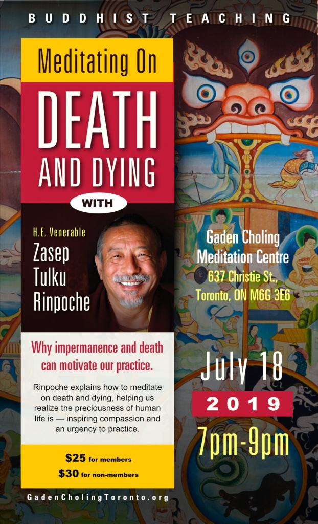 Poster Meditating on Death and Dying H E Zasep Rinpoche Gaden Choling