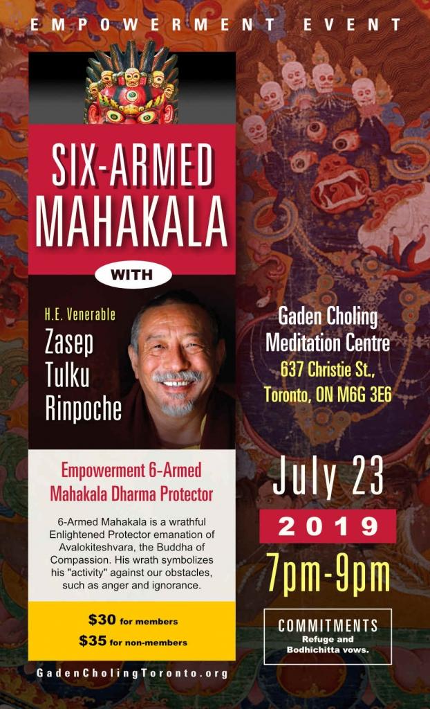 Six Armed Mahakala Poster H E Zasep Rinpoche Ganden Choling Toronto
