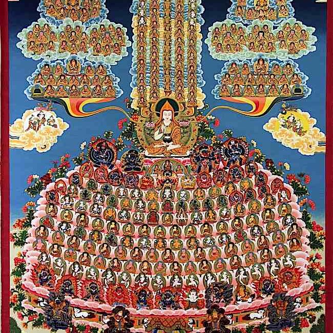 """Unique to Vajrayana are advanced and highly detailed visualizations of the """"Field of Merit."""" The meditator tries to create and hold a vision of the lineage of buddhas, bodhisattvas, lamas, sages and mahasiddhis that transmitted the Dharma. Then, mentally, we prostrate and make offering to the visualized deities. Such strenuous visualization trains and disciplines the mind, while also creating the conditions for positive merit."""