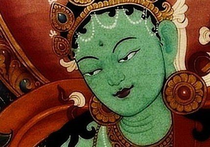 "Green Tara. From a 18th century prayer: ""From my heart I bow to Divine Mother Tara, essence of love and compassion, the most precious objects of refuge gathered into one. From now until I reach enlightenment, hook me with your great love and kindness to liberate me."""