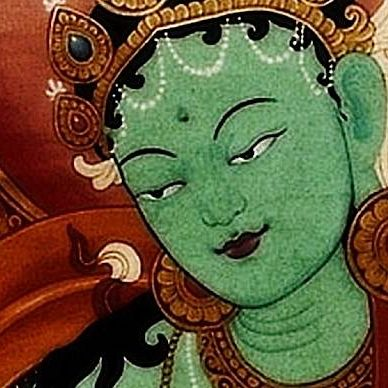 """Green Tara. From a 18th century prayer: """"From my heart I bow to Divine Mother Tara, essence of love and compassion, the most precious objects of refuge gathered into one. From now until I reach enlightenment, hook me with your great love and kindness to liberate me."""""""
