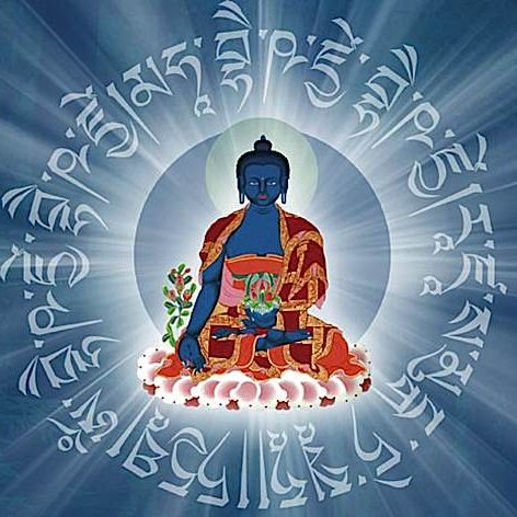 Visualizing the Medicine Buddha Mantra and rays of healing Lapis Lazuli light emanating from the Buddha, and absorbed into the patient (or self) assists in healing.