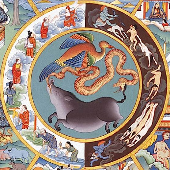 The concept of clinging, suffering and karma are bound up in the cycle of rebirth in Buddhism.