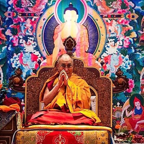 His Holiness the Dalai Lama teaching.