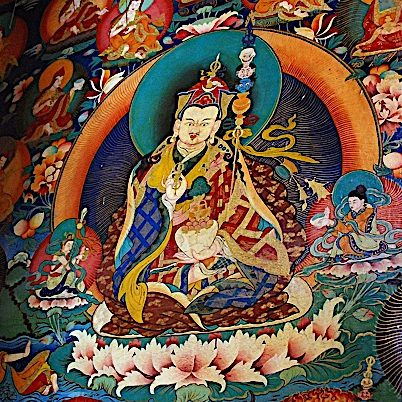 Padmasambhava Guru Rinpoche sacred image on the wall of Rongbuk Monastery.