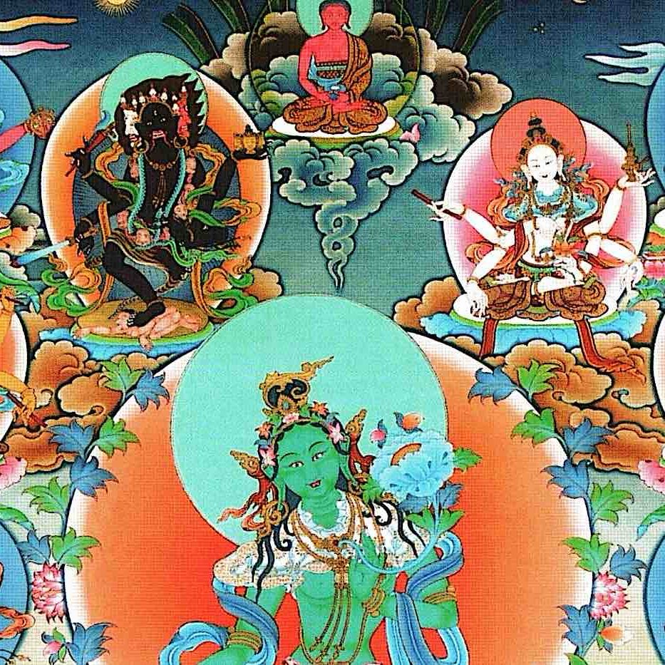 21 Taras according to the Surya Gupta tradition, from a Thangka provided by Zasep Rinpoche.