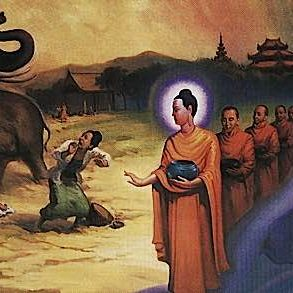 Shakyamuni subdues an elephant with loving kindness and the Abhaya gesture. The elephant was enraged by evil Devadatta.