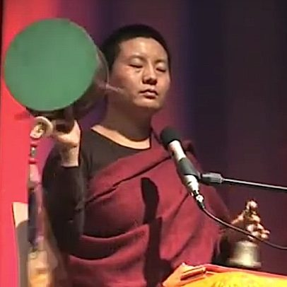 Internationally popular singing/chanting star, Tibetan Buddhist nun Ani Choying Drolma performs the Chod drum and chant. See video below.