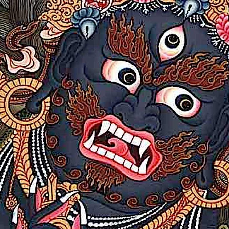 Black Mahakala is the most iconic of the wrathful Enlightened Deities. He is a ferocious emanation of the Buddha of Compassion Avalokiteshvara or Chenrezig.