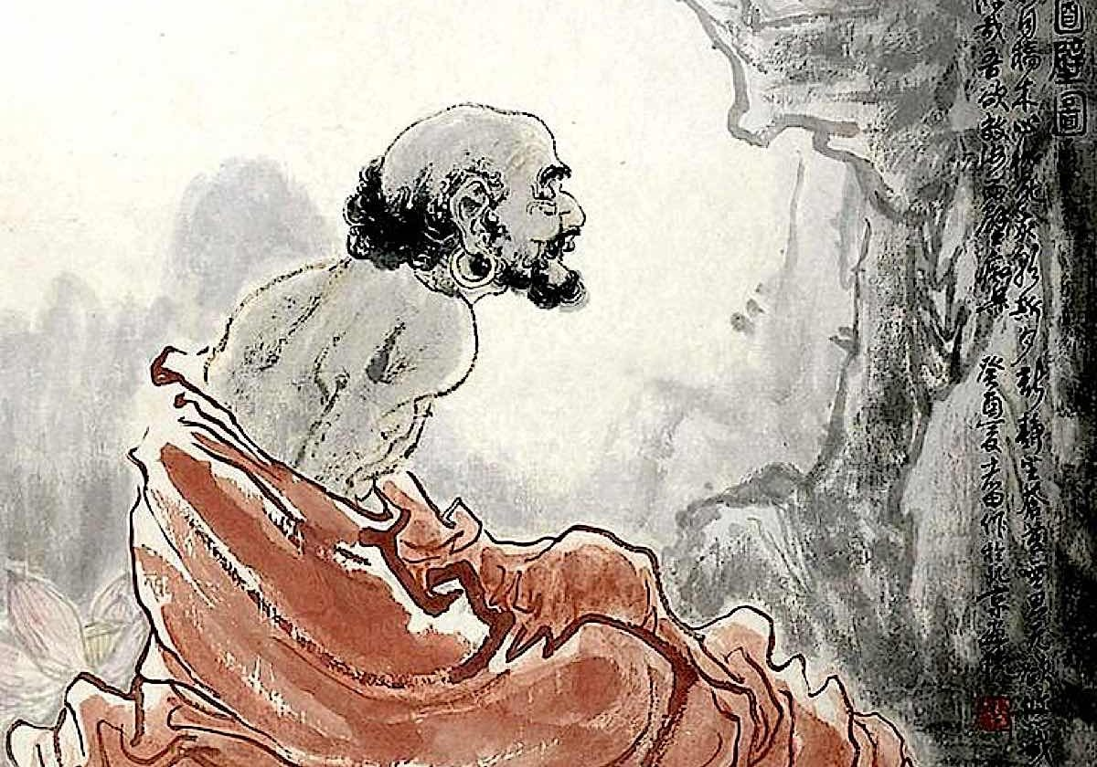 Bodhidharma meditating in his cave, facing the wall.