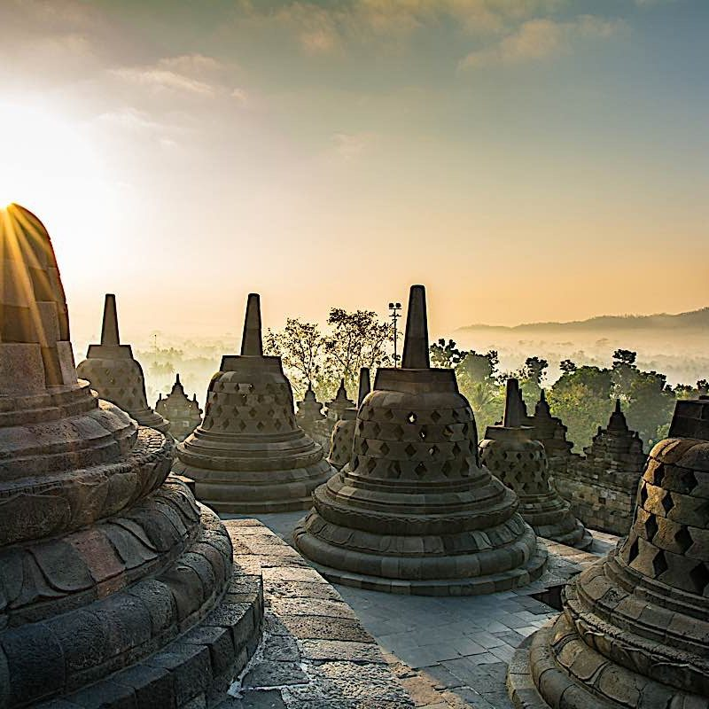 Borobudur Stupas, Java Island Indonesia.