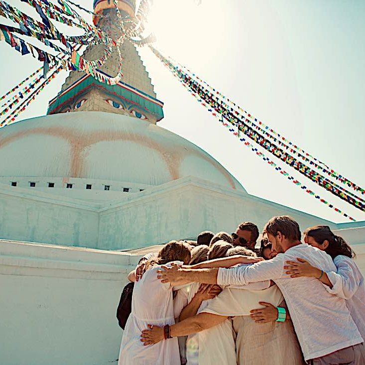 Pilgrimage to the Boudhnath Stupa in Katmandu with Dr. Miles Neale.