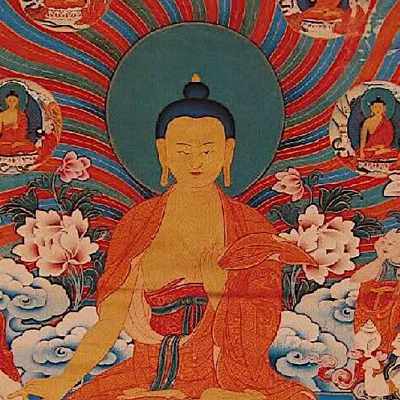 Thangka depicted the 15 days of Buddha's miracles.