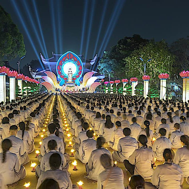 Amitabha chanting at a night festival in Ho Chi Minh City.