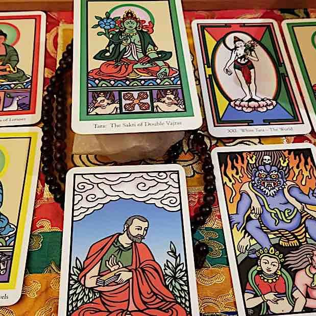 Laura Santi's Buddha Wisdom and Sakti Power Oracle deck incorporates her famous thangka paintings.