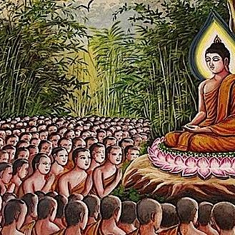 Buddha gives precious teachings to the Bhikkus.