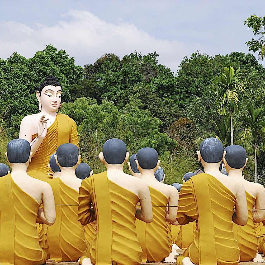 Shakyamuni Gautama Buddha teaching the monks as recorded in Suttas. Statues from Jantaburi Temple iln Thailand.