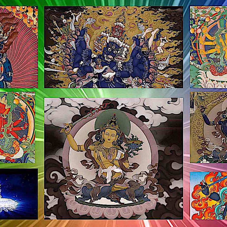 The many faces of Wisdom and Compassion: Top right ferocious Yamantaka (two arms), top centre Yamantaka with nine heads — Manjushri's head on top — top right a rarer tantric form, centre bottom Orange Manjushri with Wisdom Sword, bottom right centre Peaceful Black Manjushri, bottom Right Wrathful black Manjushri and bottom left, the syllable Hum on a Lotus.
