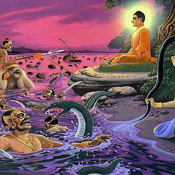 The river metaphor appears often in Sutra teachings. Here, Shakyamuni is assailed by Mara, but the evil ones are swept away in the river of Samsara. Buddha, the Enlightened, is unassailable.