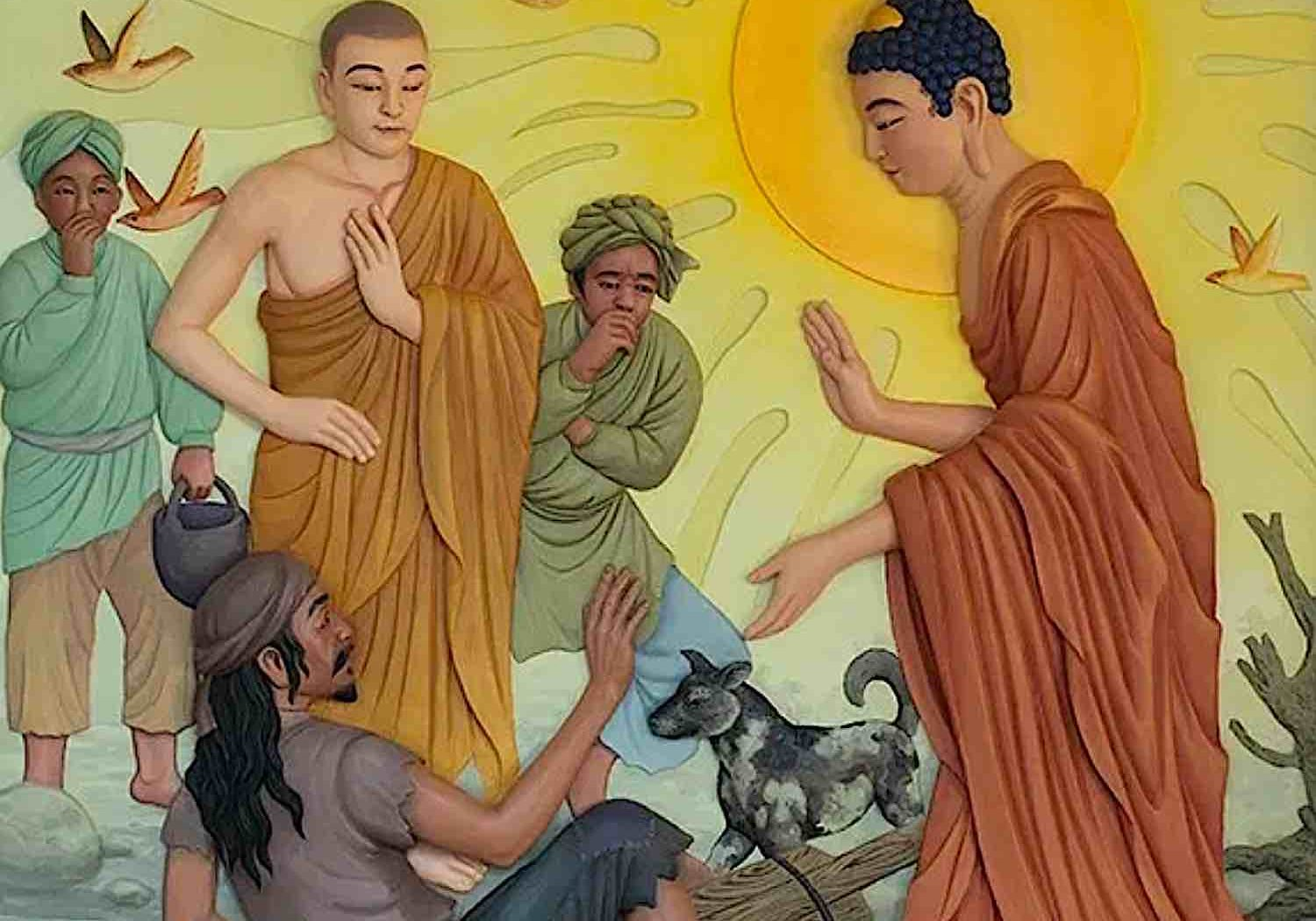 "Buddha comes across the ""untouchable"" carrying excrement. Buddha treats the ""untouchable"" as an equal, without pride, and asks him to become one of his monks."